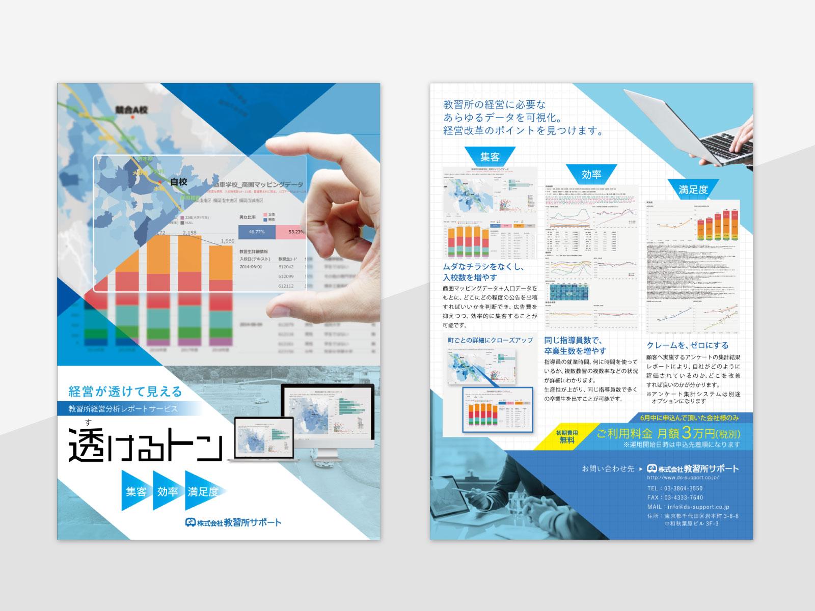 教習所経営分析サービス「透けるトン」チラシ デザイン案